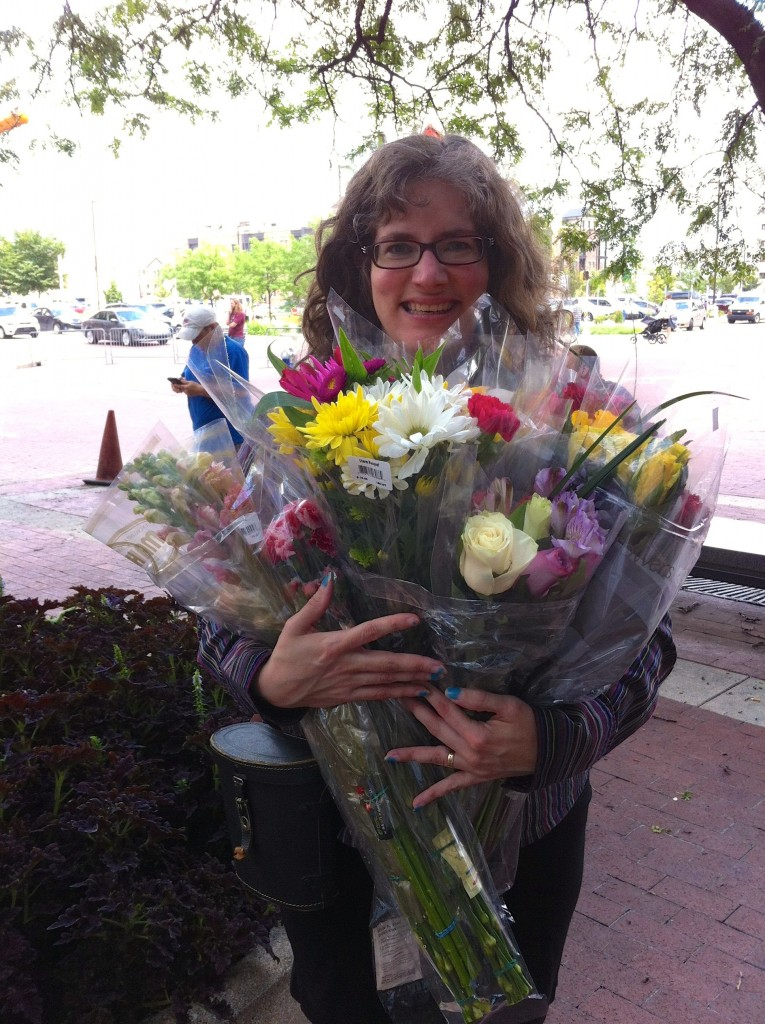 Stephanie delivering flowers for same-sex couples getting married